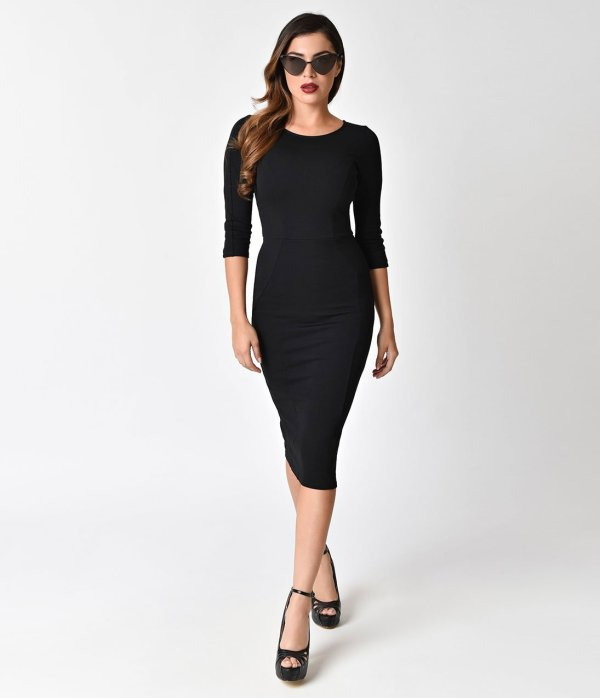 unique vintage long sleeved black dress.jpg