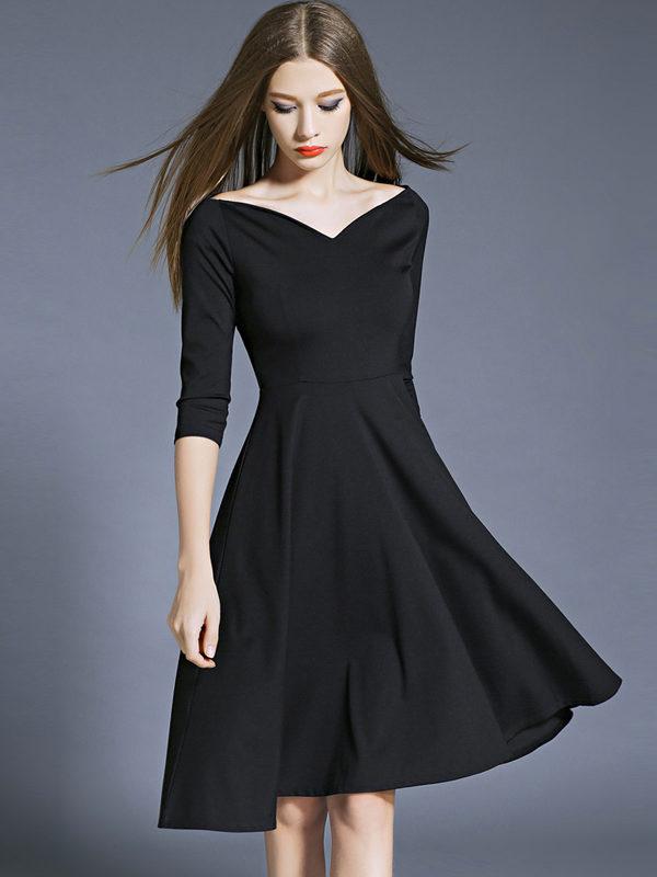 vneck black dress